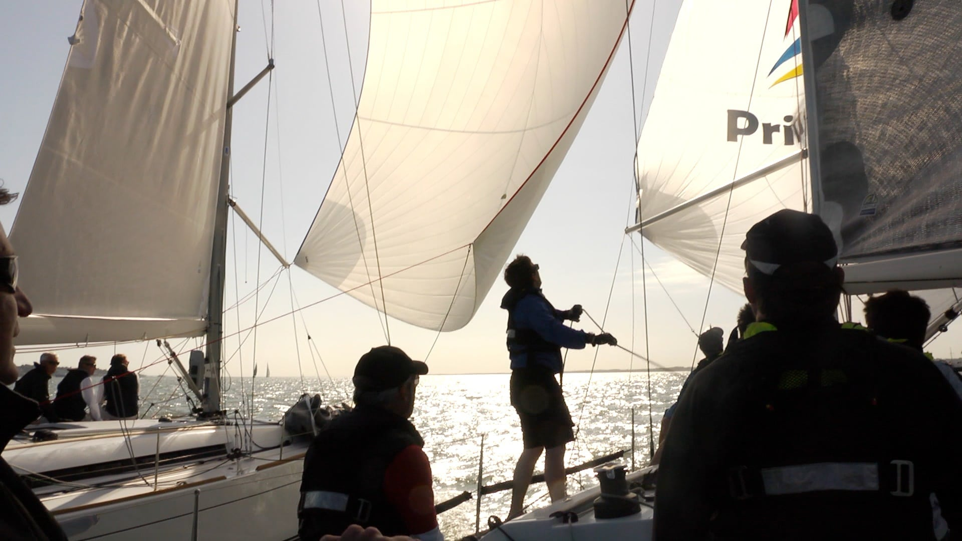 Perfect conditions for filming the Lutine Cup at Cowes
