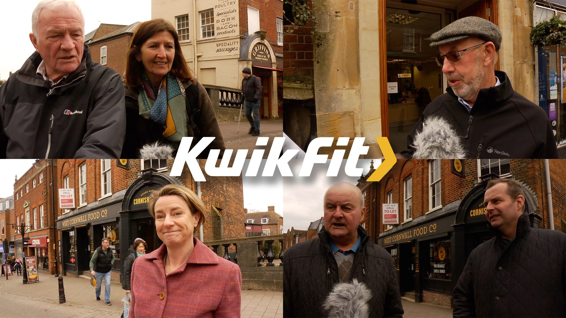 Filming voxpops on the street for Kwikfit